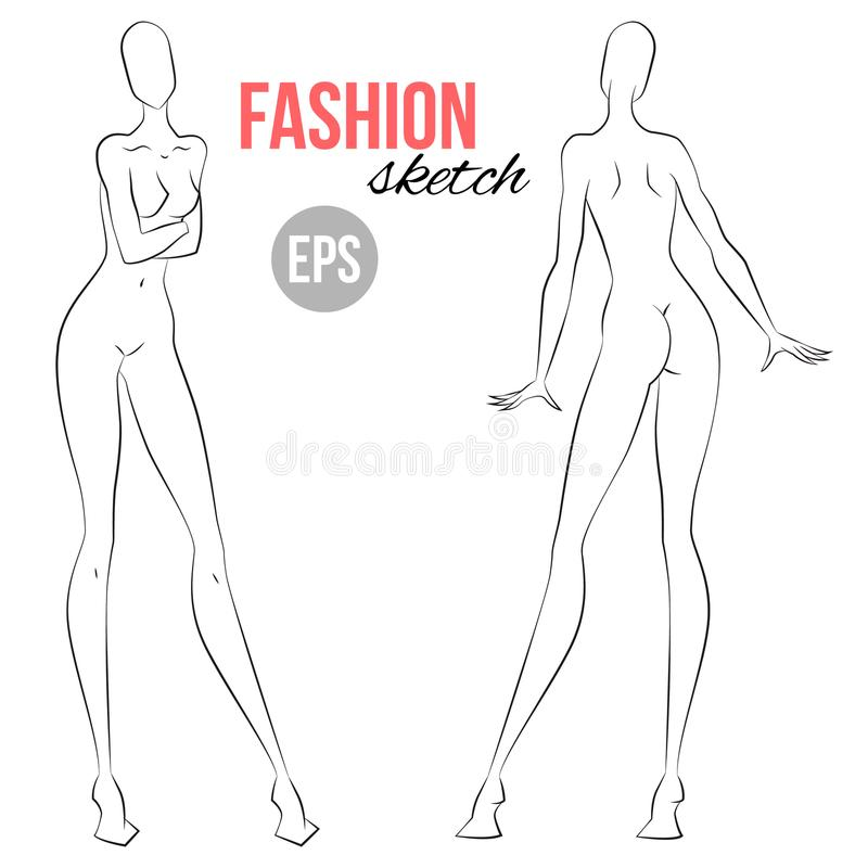 front and back view poses for fashion sketching vector