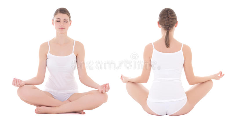 Front and back view of slim woman in cotton underwear doing yoga royalty free stock images