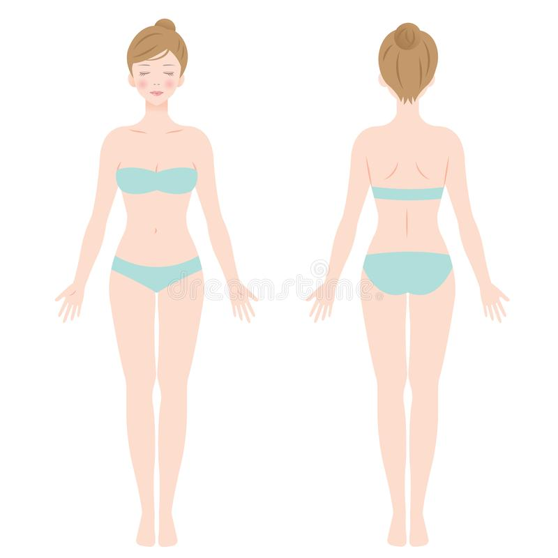 Front and back view of standing female in underwear stock illustration