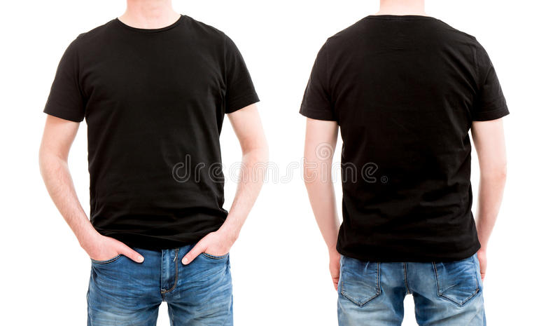 Front And Back View Tshirt Template. Stock Photo - Image of ...