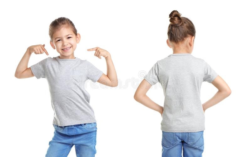 Front and back views of little girl in grey t-shirt royalty free stock images