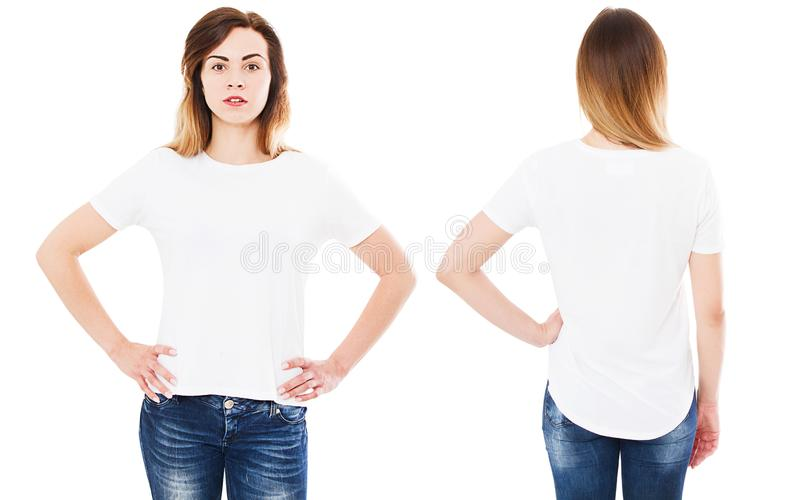 Front back views t shirt isolated on white background, t-shirt collage or set,girl shirt stock photo
