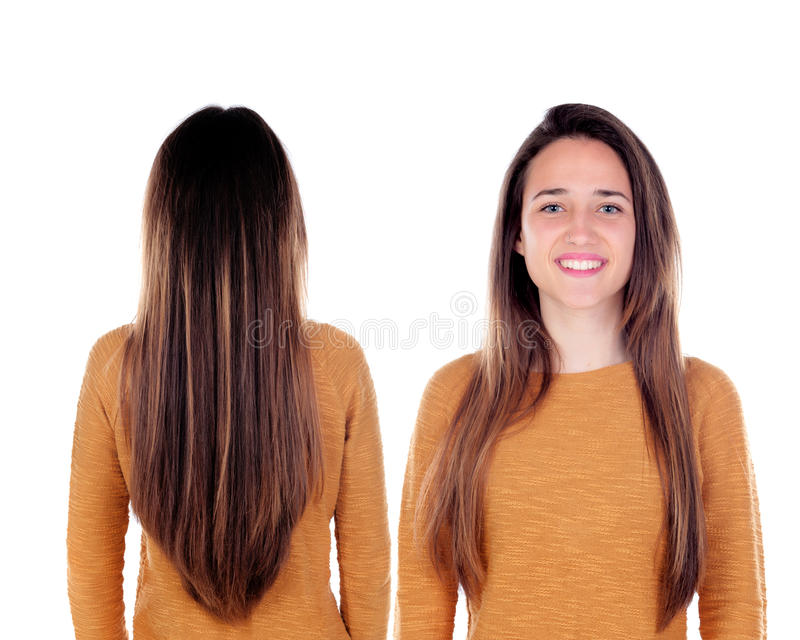 Front and back views of a teenger girl with long hair royalty free stock photo