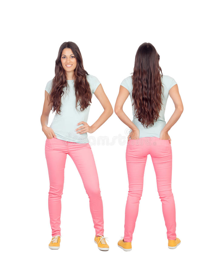 Front and back views of a teenger girl with long hair stock photo