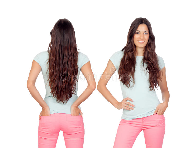 Front and back views of a teenger girl with long hair royalty free stock image