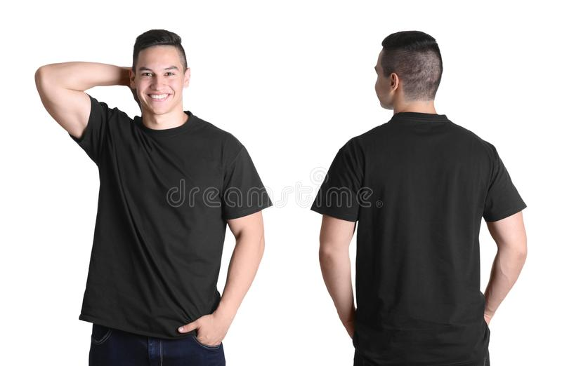 Front and back views of young man in black t-shirt royalty free stock photo