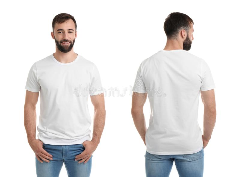 Front and back views of young man in blank t-shirt stock image