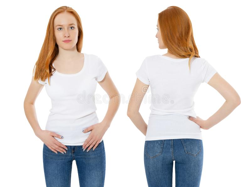 Front and back views of young red hair scandinavian women in stylish t-shirt on white background. Mockup for design t shirt royalty free stock images