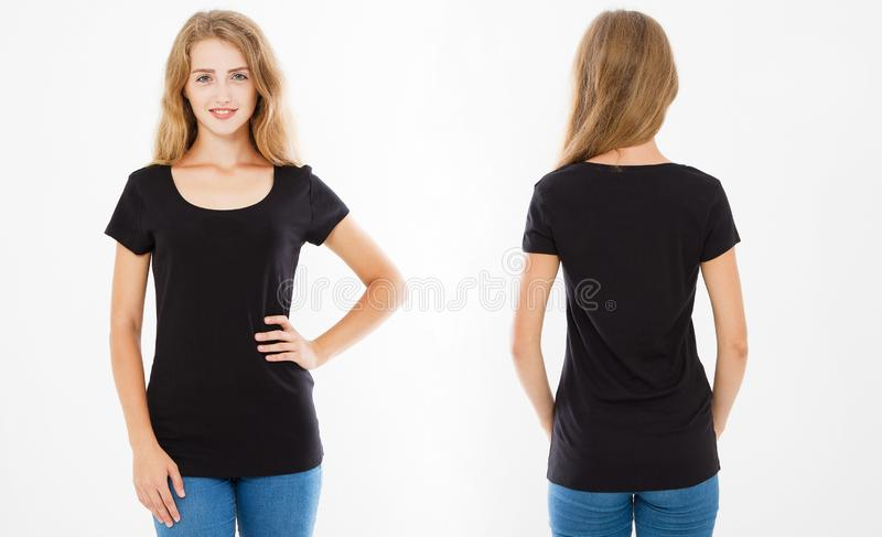 Front and back views of young woman in stylish black t shirt on white background. Mock up for design. Copy space. Template. Blank royalty free stock images