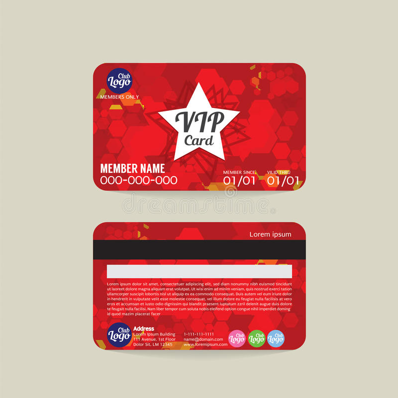 Front And Back VIP Member Card Template. Stock Vector - Illustration ...