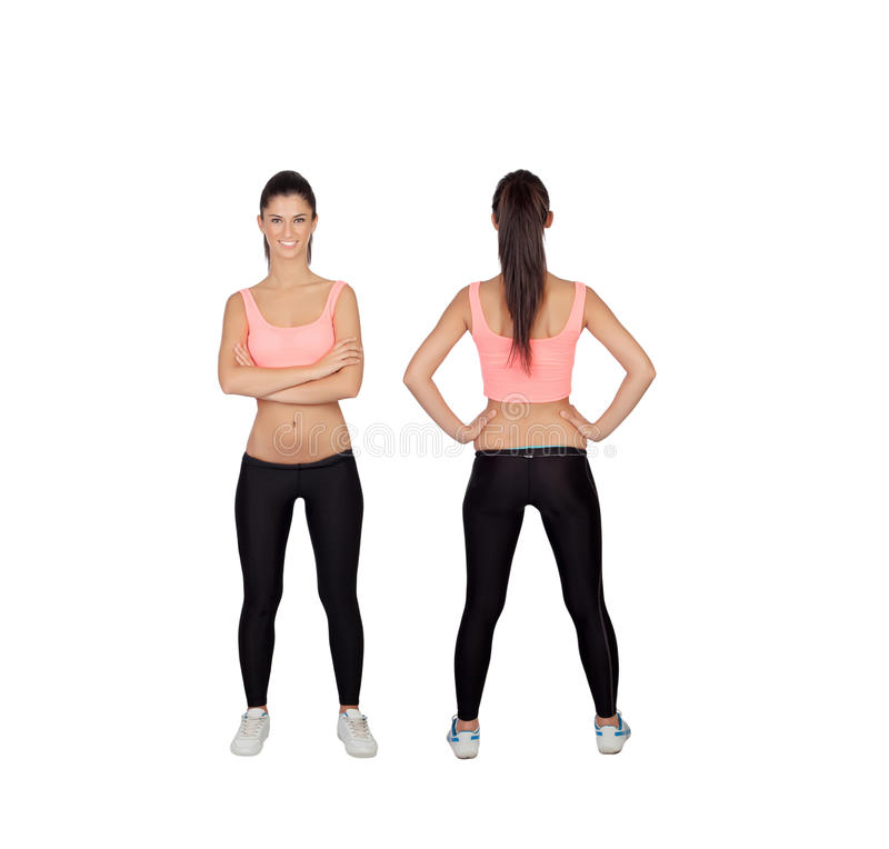 Front and back of woman in fitness clothes. Image of front and back of a woman in fitness clothes stock photography