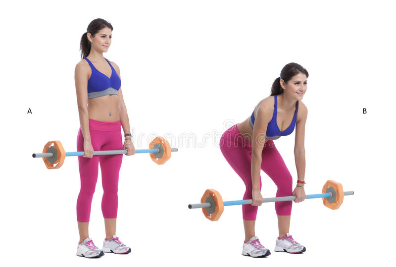 Front Barbell Squat. Step by step instructions: Position yourself under a barbell held by a squat rack. Keeping your elbows high, place your arms up and under stock photos