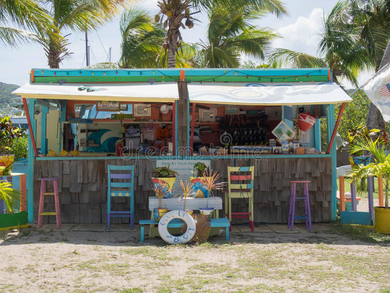 Front of a Beach Rental Shack. Front of a Colorful Beach Rental Shack in St. Croix, U.S. Virgin Islands royalty free stock images