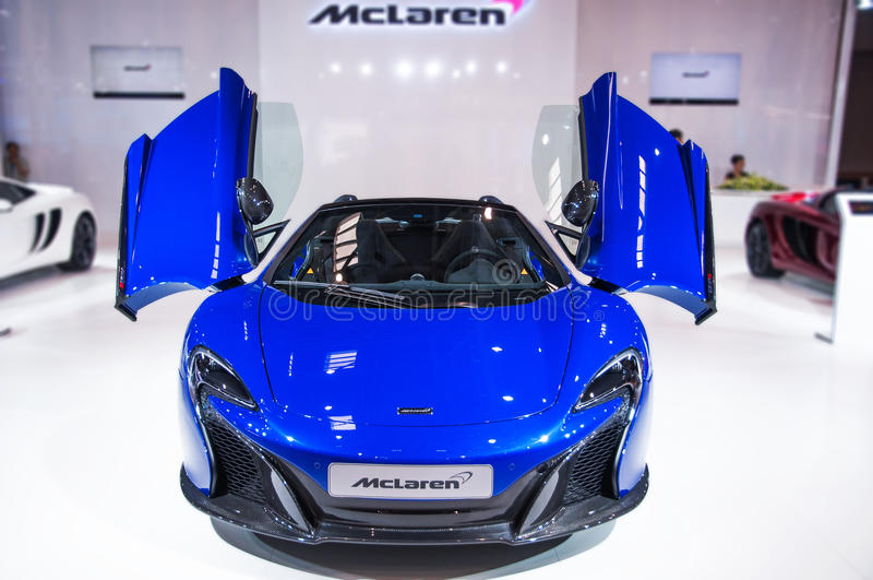Download Front Of Blue Mclaren Roadster Editorial Photography - Image: 41412187