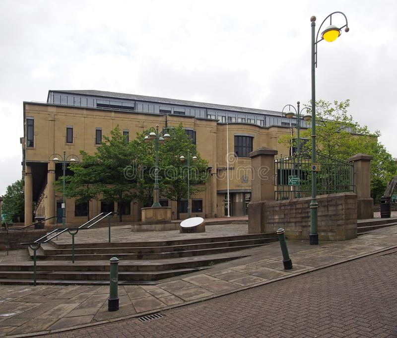 The front of bradford law courts in west yorkshire in Exchange Square Drake Street Bradford. Bradford, west yorkshire, united kingdom - 28 may 2019: the front of royalty free stock photography