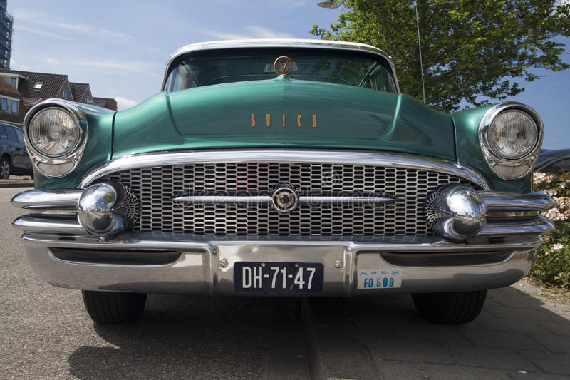 Front Of A Buick Roadmaster 1955 During A Oldtimer Show. Editorial Stock Photo
