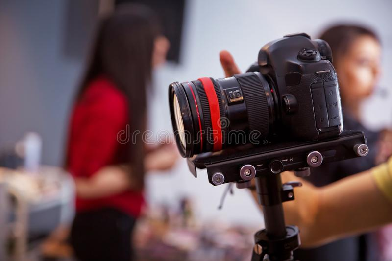 In front of the camera to recording vlog video live streaming at home.Business online influencer on social media concept stock photography