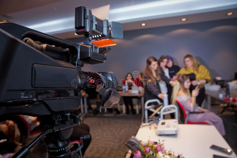 In front of the camera to recording vlog video live streaming at home.Business online influencer on social media concept. Makeup cosmetic at home. Focus on stock photo