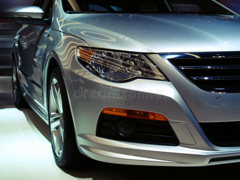 Front of a car. Front side of a car with blurred background royalty free stock photos