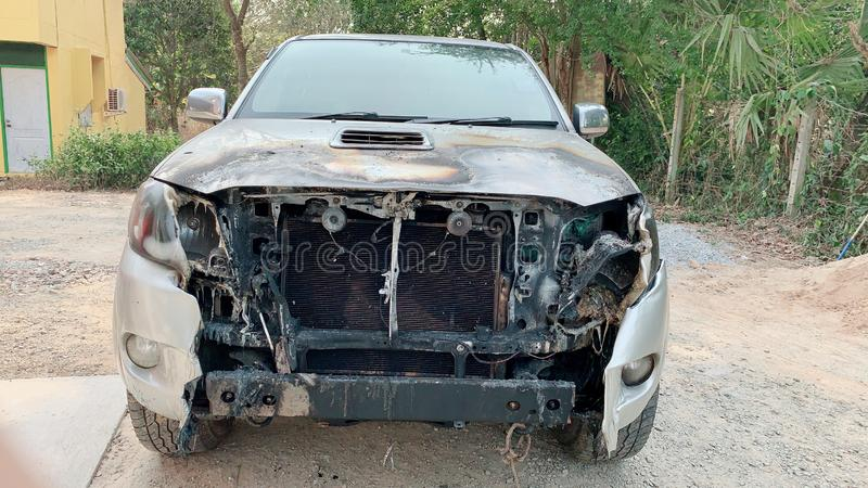 Front of the car fire accident on street ,Cars damaged by fire royalty free stock image