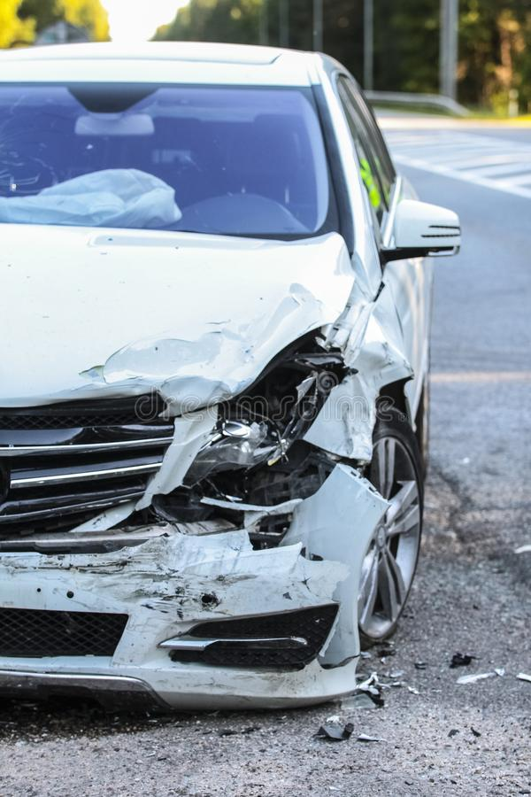 Front of a car get damaged by crash accident royalty free stock photo