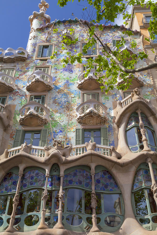 Front of Casa Batllo, Gaudi project , Barcelona, Spain. Barcelona, Spain - May 11,2016 :Front of Casa Batllo, Gaudi project . Building redesigned in 1904 by stock photos
