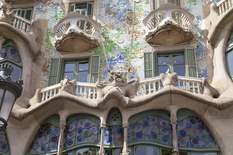 Front of Casa Batllo, Gaudi project , Barcelona, Spain. Barcelona, Spain - May 11,2016 :Front of Casa Batllo, Gaudi project . Building redesigned in 1904 by royalty free stock image