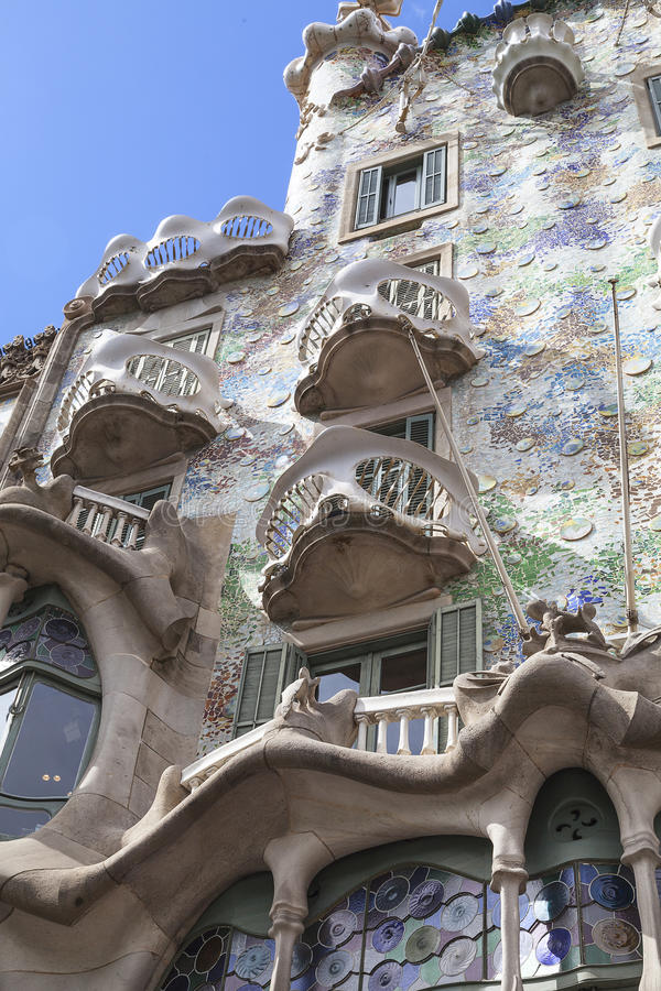 Front of Casa Batllo, Gaudi project , Barcelona, Spain. Barcelona, Spain - May 11,2016 :Front of Casa Batllo, Gaudi project . Building redesigned in 1904 by stock photo