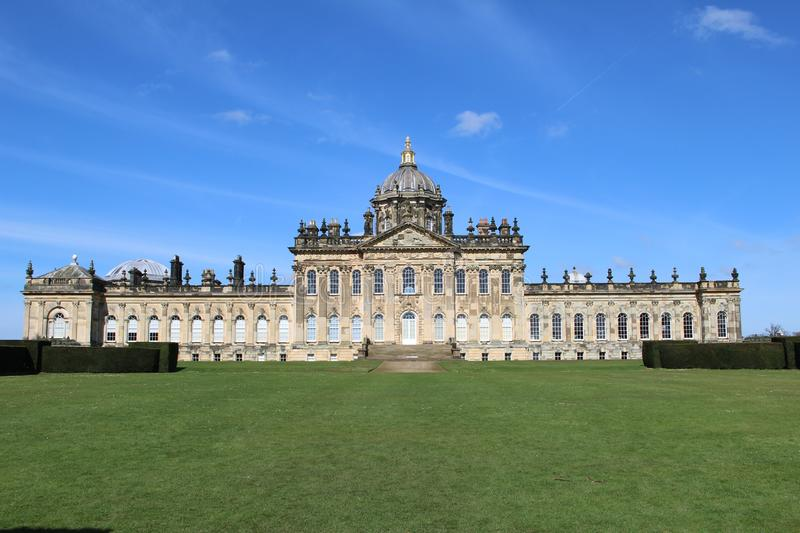 Front of Castle Howard Building in Yorkshire England. Front of historic Castle Howard Building in Yorkshire England United Kingdom royalty free stock photos