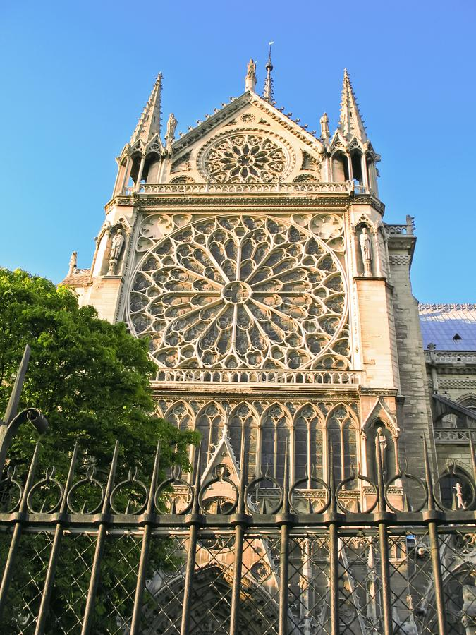 In Front Of Cathedrale Notre Dame de Paris. Historical building stock photography