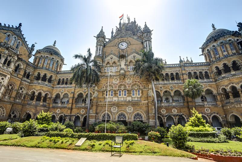 Victoria Terminus, Mumbai, India. In front of Chhatrapati Shivaji Terminus formerly Victoria Terminus a historic railway station and a UNESCO World Heritage Site royalty free stock photography