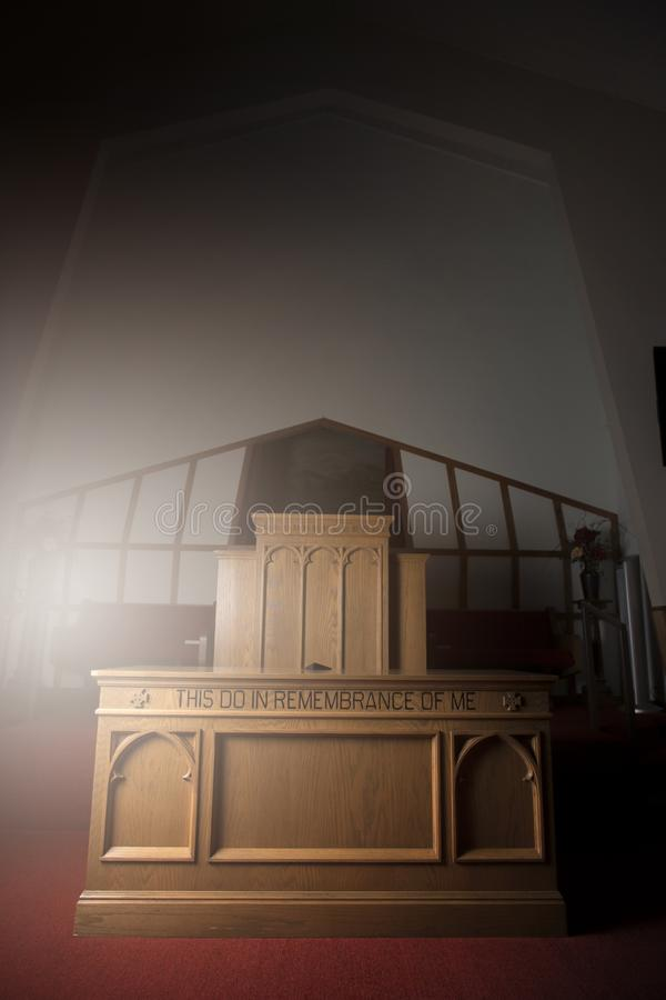 Front of a Church Building with the Communion table Front and Center royalty free stock image