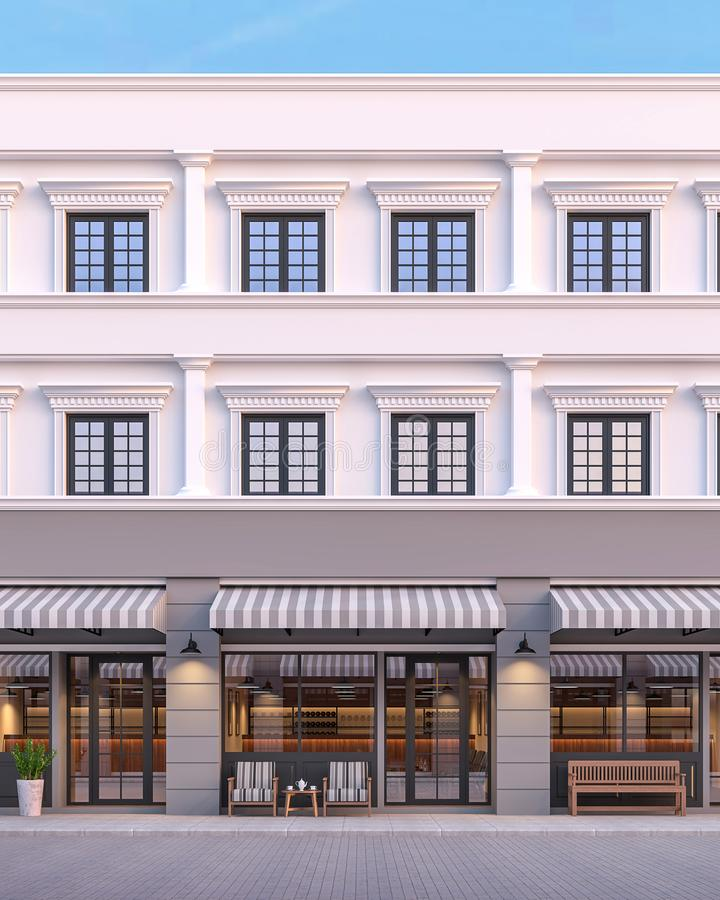 Front of classical style commercial building 3d render royalty free illustration