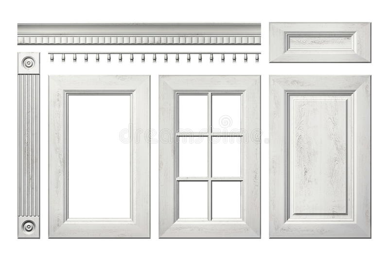 Front collection of old wooden door, drawer, column, cornice for kitchen cabinet isolated on white. Front collection of old wooden door, drawer, column, cornice stock illustration