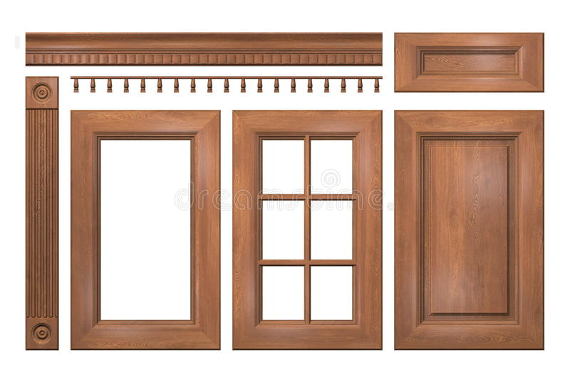 Front collection of wooden doors, drawer, column, cornice for kitchen cabinet. On white royalty free illustration