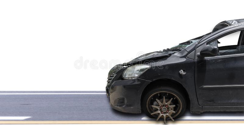 Front of dark gray color car damaged and broken by accident isolate on white background. Save with cliping path. Car crash. Transportation concept. Front of dark royalty free stock images
