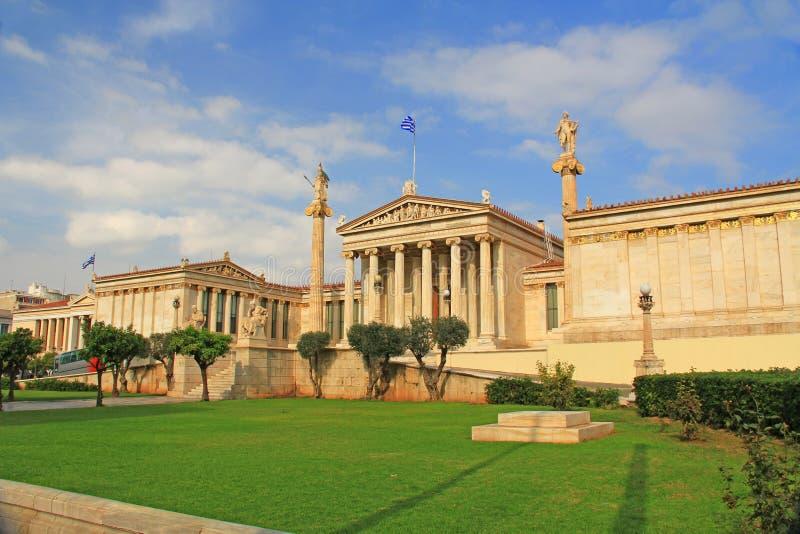 Front der nationalen Akademie von Künsten in Athen, Griechenland lizenzfreies stockfoto