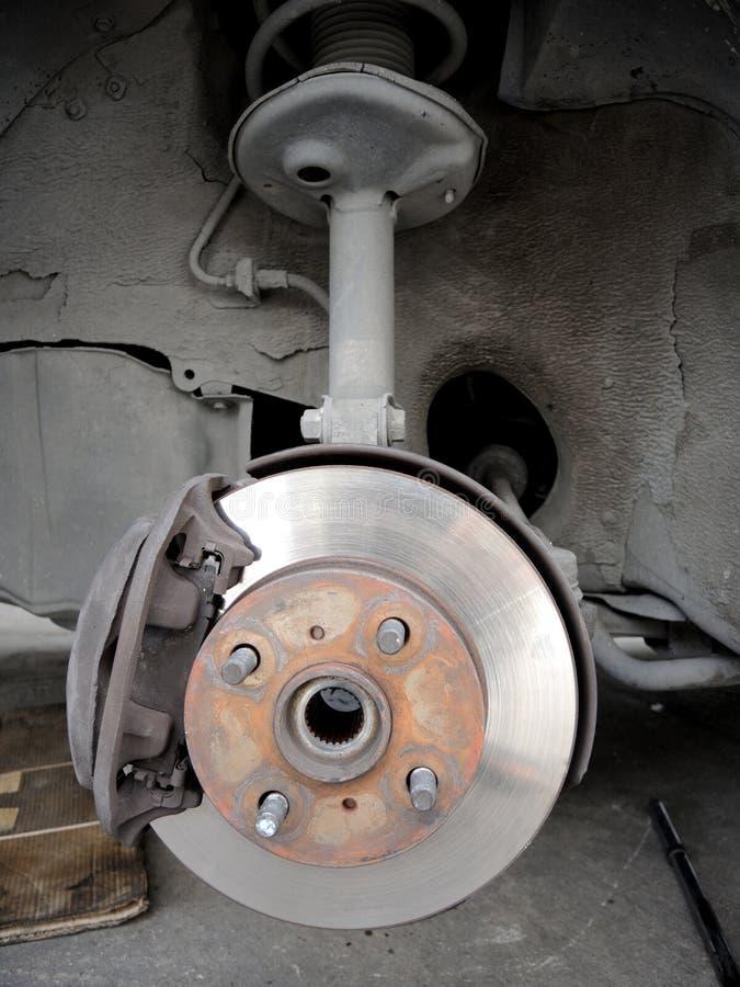 Front disc break. Closeup front disc break in maintenance process royalty free stock photography