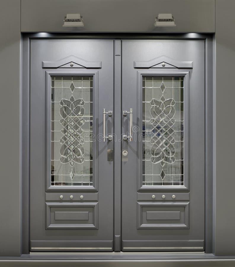 Front Door. Massive Metallic Fireproof Front Door royalty free stock photos