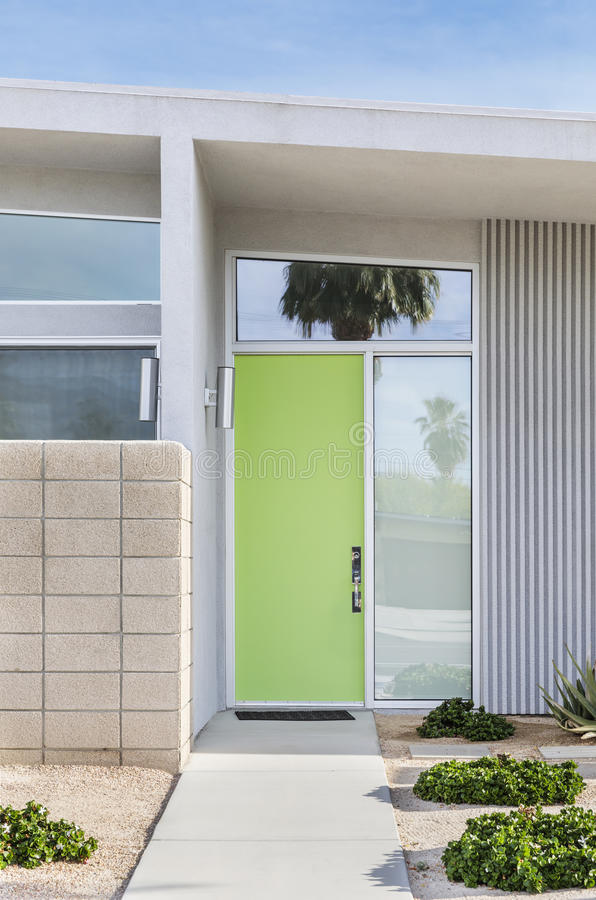 Front door that is green royalty free stock photo