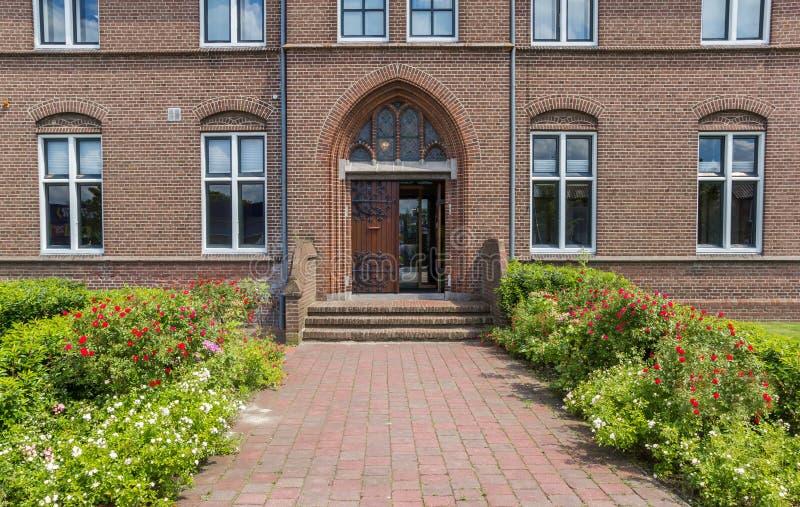 Front door of the historic monastery in Hoogeveen. Netherlands royalty free stock photos