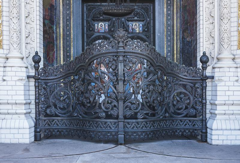 Front door. Holy gate. At the entrance to the Cathedral of St. Nicholas. Kronshtadt. Saint-Petersburg. Russian Federation. September 2017 royalty free stock image
