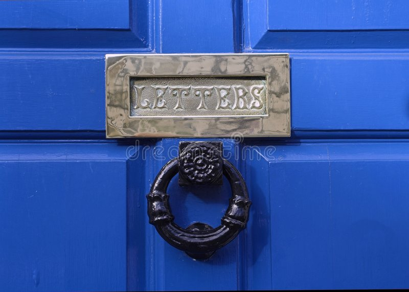 Download Front Door Letter Box stock photo. Image of blue, period - 3670082