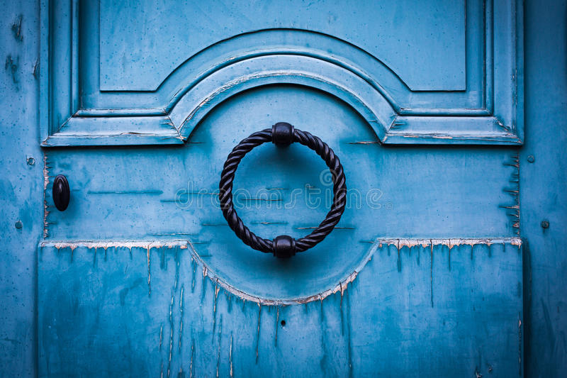 Front Door. Obsolete blue front-door in the street of Paris stock photos