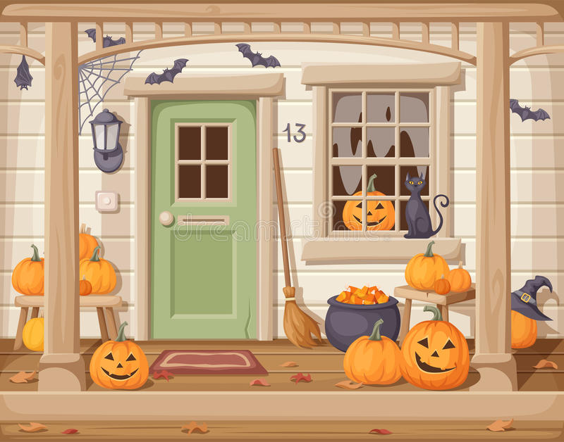 Front door and porch decorated for Halloween. Vector illustration. stock illustration