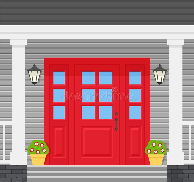 Free Front Door, Porch House. Vector Illustration In Flat Design Stock Photo - 161046460