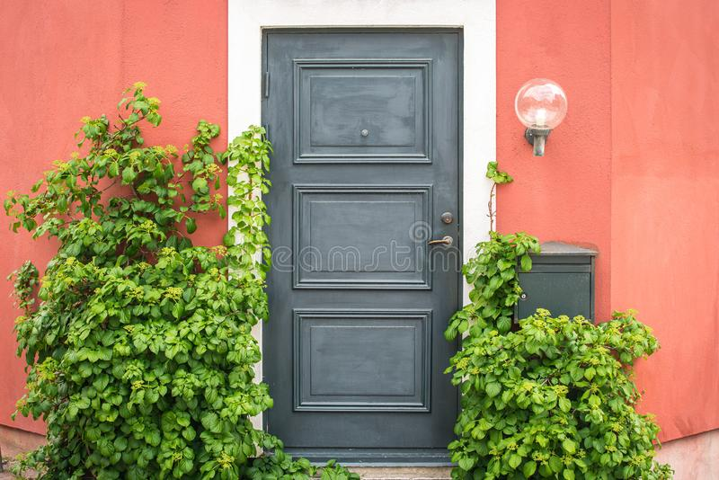 Front Door and Porch of an swedish Town House stock images