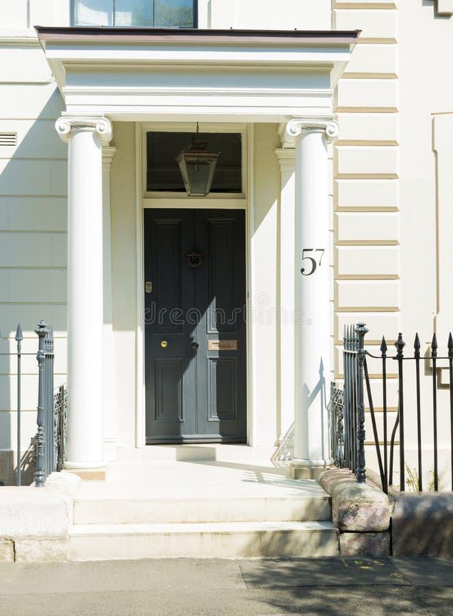 Front door restored Georgian house royalty free stock photo
