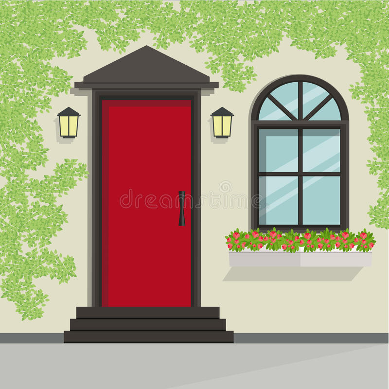 Front door view with vine on the wall.Vector Building element. Flat style design royalty free illustration