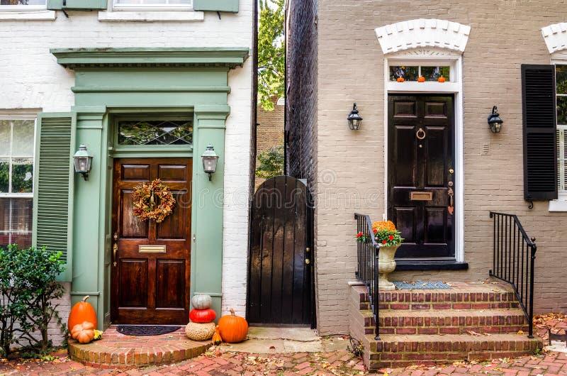 Front Doors di legno Colourful immagine stock libera da diritti